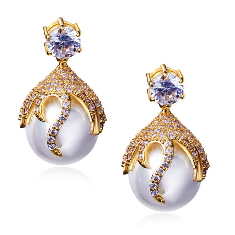 DC1989 Women's Pearl Drop Earrings Clear CZ Lead Free Big Drop Fashion Earring Gold & Platinum Plated Silver Pins Anti-Allergic(China (Mainland))