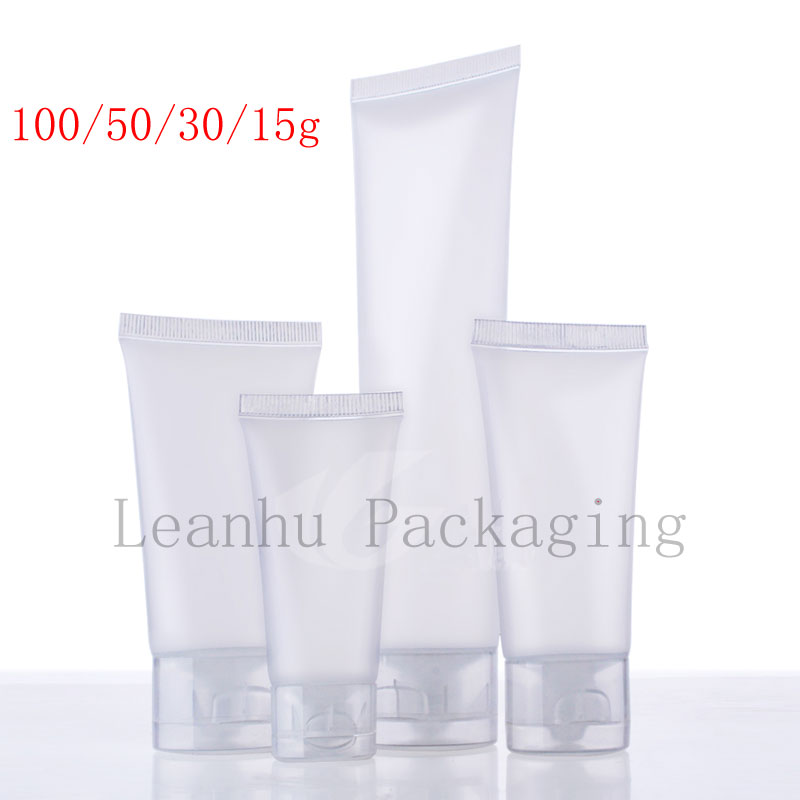 15 30 50 100 ml natural frosted soft lotion cosmetics tube , squeeze plastic bottle, shampoo lotion tube packaging,container(China (Mainland))