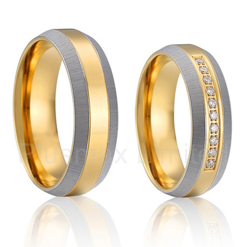 alliance anel Europe quality 18k gold plated titanium couple wedding rings pair<br><br>Aliexpress