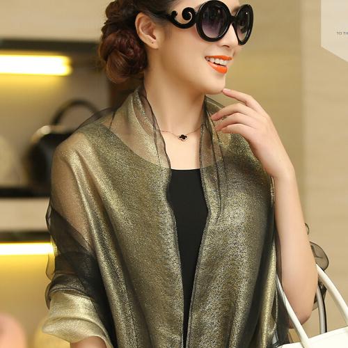 Free Shipping 2015 Fashion Tassel Shawl Female,Organza+Gold Thread 100% Silk Scarf Women,180*70cm Sari Tippett,seamless bandanas(China (Mainland))