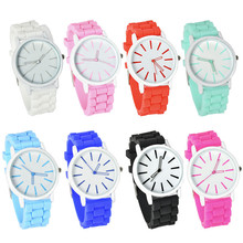 8 Colors Geneva Watches Silicone Strap Wristwatch for Men Women Fashion Jelly Crastal Quartz Analog Sports Round Wrist Watch