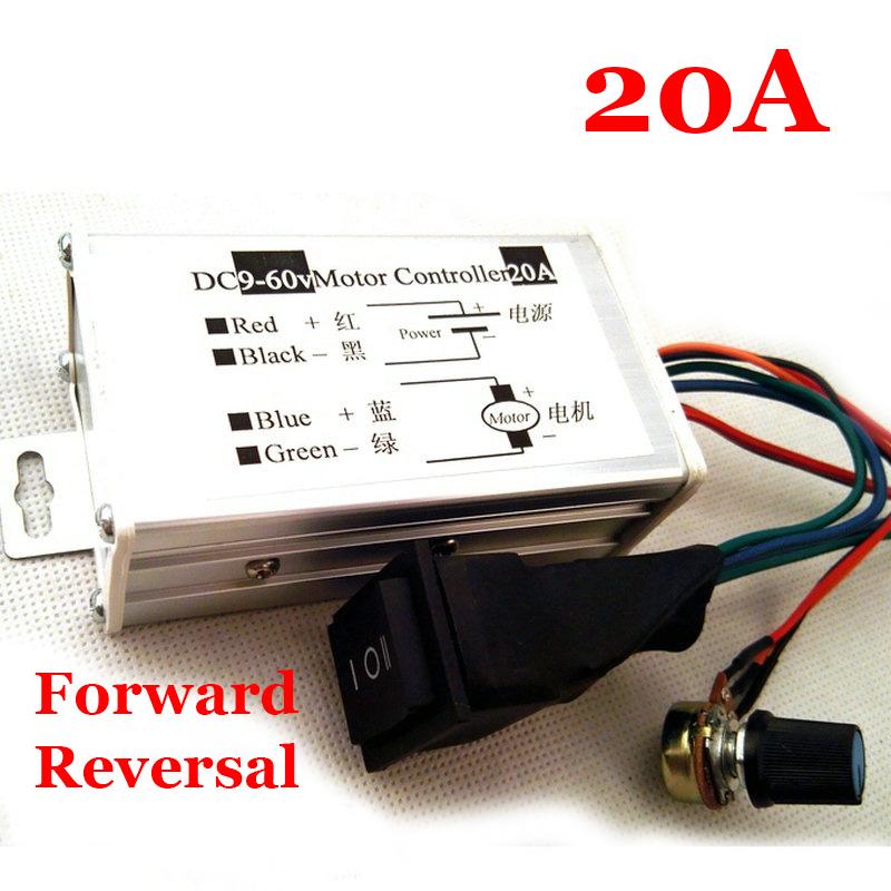 20A DC motor variable speed/reverse switch pulse width/PWM motor speed controller 12V24V36V48V(China (Mainland))