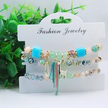3 Pcs/Set Christmas Bracelets Bangles For Women Boho Crystal Beads Nature Stone Bracelet With Deer Wristband Femme Jewelry Gifts(China)