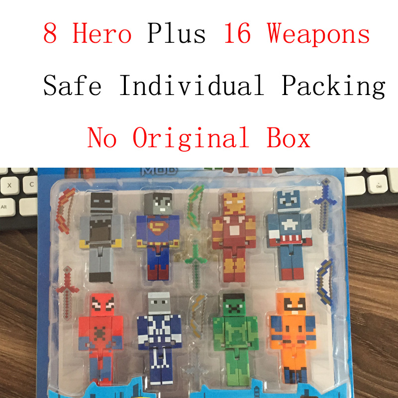 8 PCS/lot Minecraft Game Brinquedo Toys Avengers Super Hero Justice League Building Blocks Toys Action Toy Figures For Gift(China (Mainland))