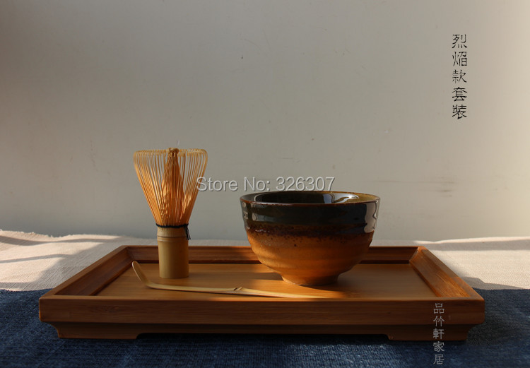 Japan Handmade Batidor Matcha kit Maccha Whisk bowl Tea Set Scoop Japanese Tea Accessories flame