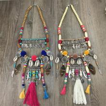 Vintage Cotton Tassel bohemia style Handcraft Button Shell String Pendant Ethnic jewelry Tibet Necklace for Dress(China (Mainland))