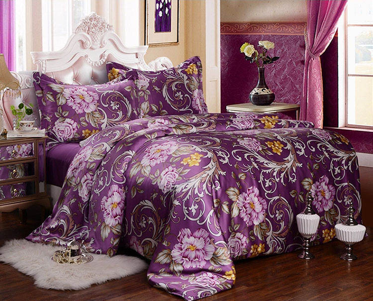 Compare prices on purple silk sheets online shopping buy - Elegant purple bedding sets ...