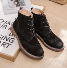 Kadın Martin çizmeler 2019 bahar yeni hakiki deri kadın ayakkabı süet kadın patik İngiliz dantel retro trend kadın naked boots(China)