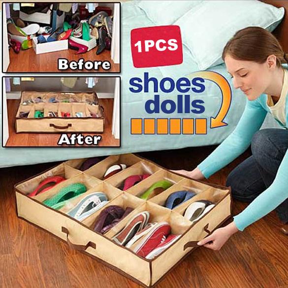 12 Pairs Fabric Storage Organizer Holder Shoes Box Free Shipping Best price(China (Mainland))