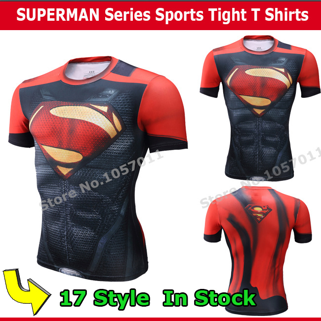 2016 new compression shirt superman batman gym run steel beast trainning t fit Tight Tops sports t-shirt - KU CHAO SPORTS store