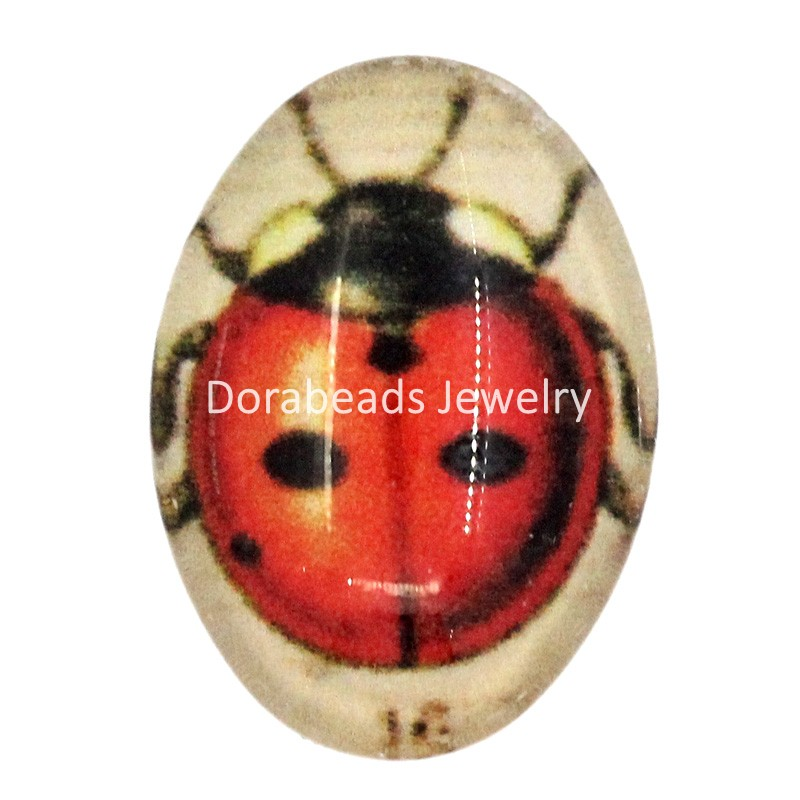 Free Shipping! Glass Cabochons Oval Flatback Ladybug Multicolor 18x13mm,20PCs (B23186)(China (Mainland))