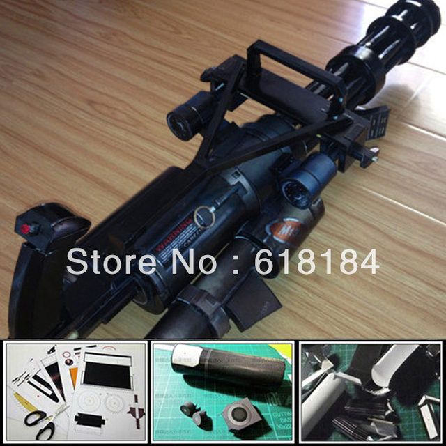 Free shipment Paper Model weapons Gatling M134 Vulcan machine gun 1:1 scale waterproof colored shiny 3d puzzles diy model toys