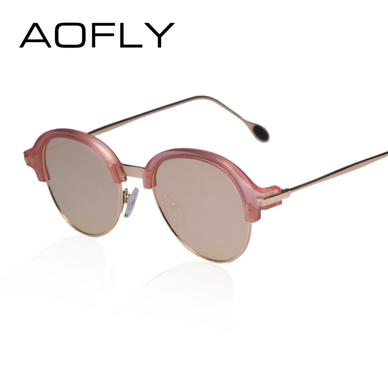 AOFLY Newest Half Frame Metal Temple Sunglasses Women Top ...