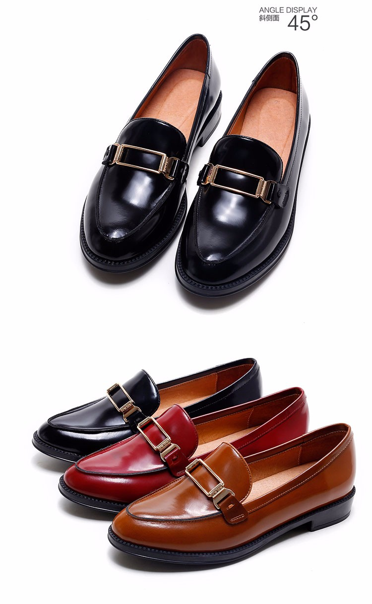Genuine leather Vintage British Style Women Oxfords Flats shoes pointed Toe Creepers Casual Ladies Platform Brogue Shoes XWD1202