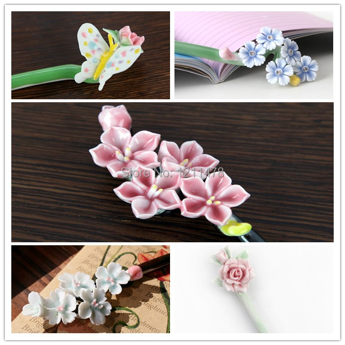 Beautiful vintage chinese handmade ceramic hair stick pin flower hairpins for hair women and girls fashion(China (Mainland))