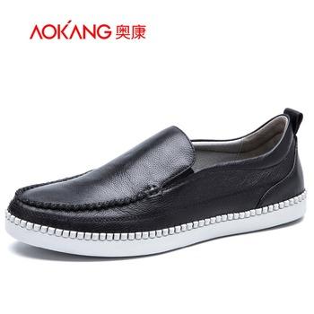 Aokang 2016 New Arrival Men Leather shoes Flats shoes Fashion Men shoes Black Red Blue