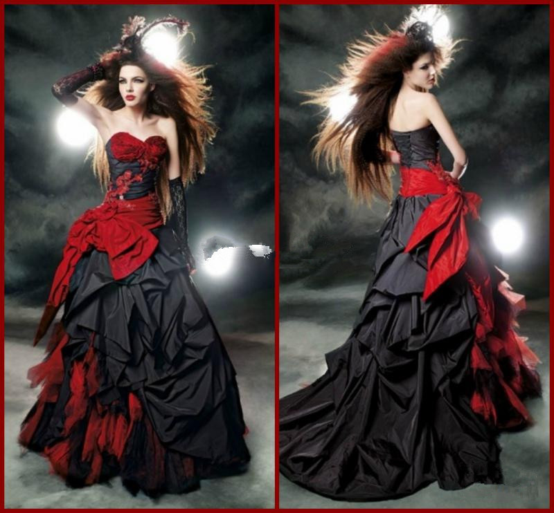 2015 sexy vintage black and red gothic wedding dresses for Vintage gothic wedding dresses