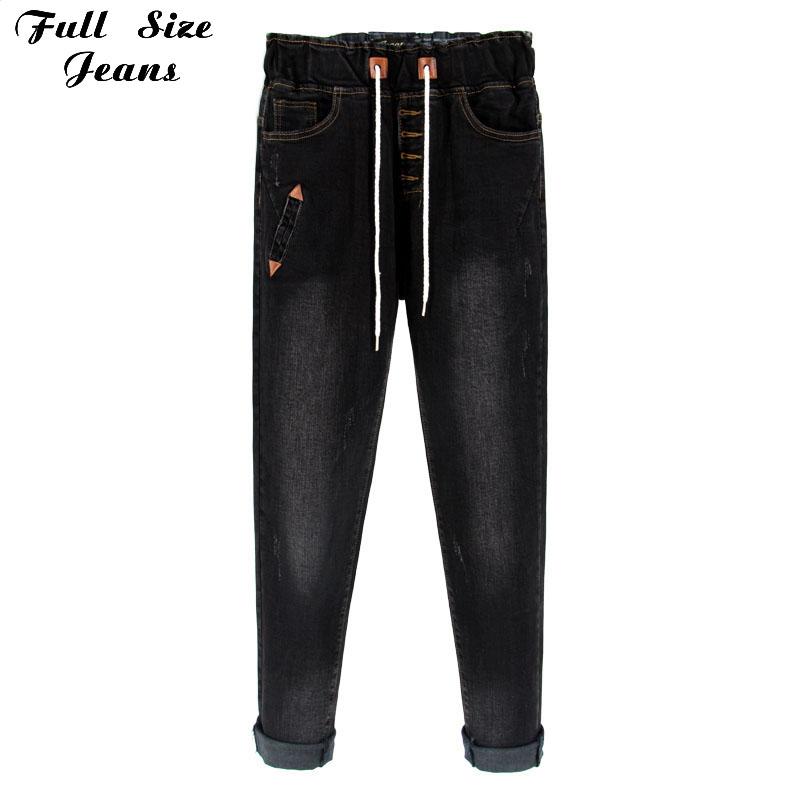 Europe Fashion Boyfriends Style Plus Size Elastic Waist Loose Harem Pants High Waist Denim Jeans Elastic 34 32 3Xl 4Xl 2Xl