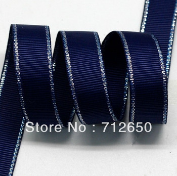 free shipping 1'' 25mm solid navy glitter metallic edge grosgrain ribbon sparkle ribbon clothes Bow Material Gift Wrap ribbon