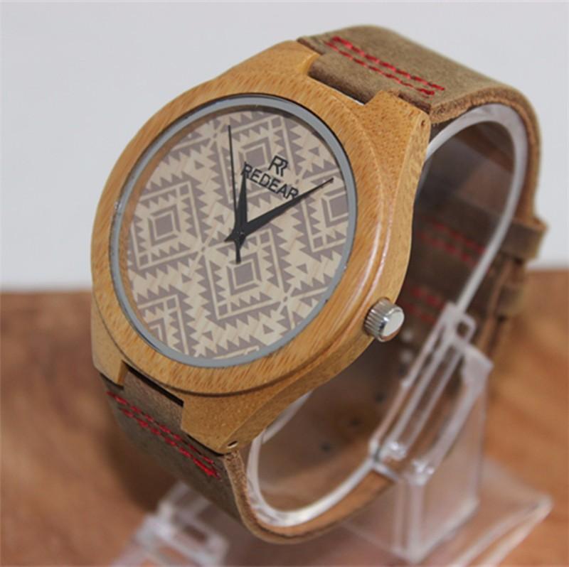 Бамбук Деревянные Любителей Моды Случайные Женщины Человек Наручные часы Кожаный ремешок Аналоговый Дисплей Кварцевые Часы Relogio Masculino Feminino
