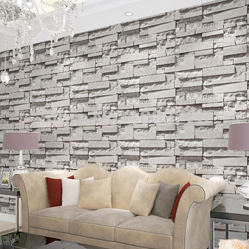 Brick stone wall paper 3d pvc wallpapers modern living for Grey brick wallpaper bedroom