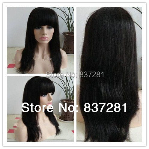 Stock Freeshipping 10-24inch silky straight brazilian virgin human super quality hair lace front wig bangs - Flower factory store