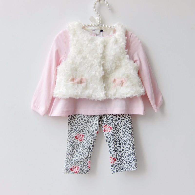 2016 Fashion Baby Girl Clothing Set  Baby Girls Clothes 3pcs Suit Infant Newborn Long Sleeves Cotton sets(Shirts+pants+vest)