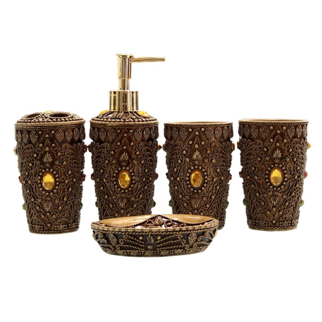 5pcs ultimate morocco bathroom accessories set bath resin for Bathroom soap dispensers bath accessories