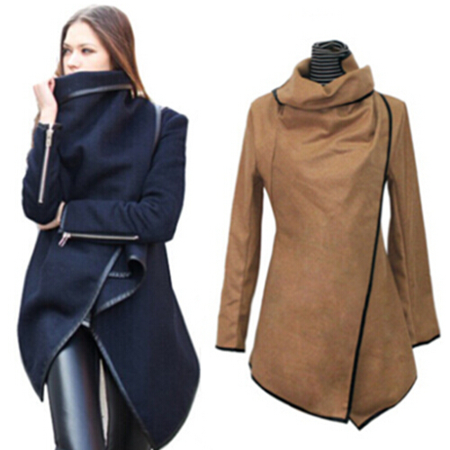 2015 New Womens Coats Fashion Slim Asymmetric Length Thin Full Sleeve PU Piping Covered Button Overcoat Trench Women Coat - Pretty Lady store