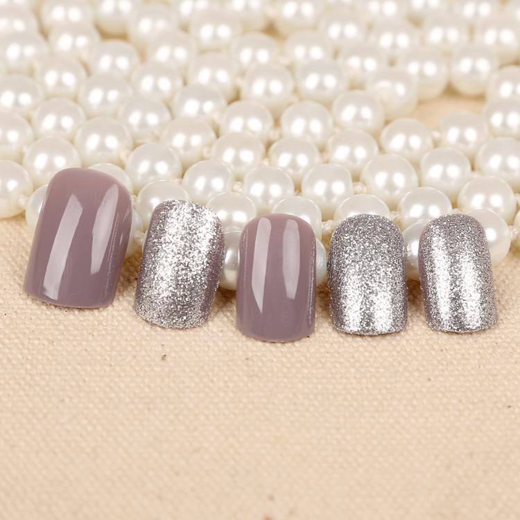 2016 New Fashion 24 Pcs Milk Gray Short False Nails Acrylic Nail Art Tips Glitter Smooth Style Full Cover Nail Art Decoration(China (Mainland))