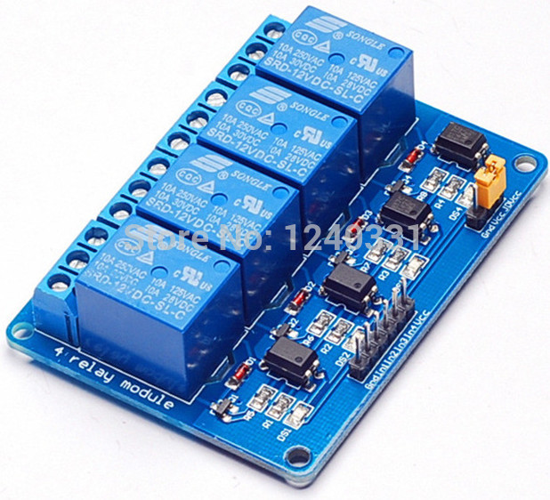 Hot sale 12V 4channel relay module relay control Relay Output 4 way relay module for arduino(China (Mainland))