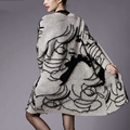 Women Coat Oversized Autumn Winter Rabbit Hair Blend Knitted Cardigans Fashion Print Jumper Sweater Thick Cardigan