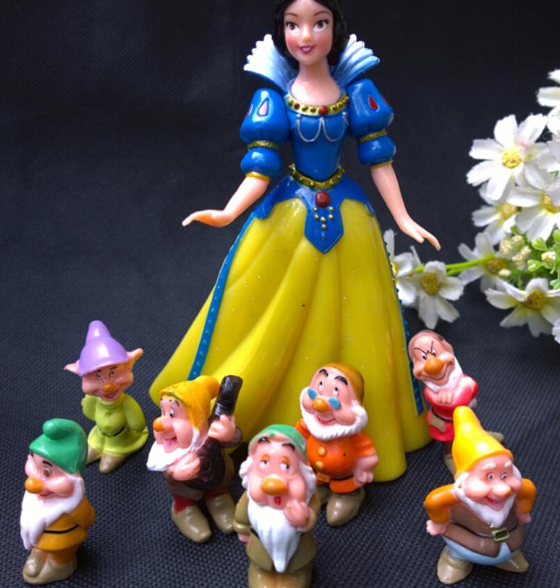 8 pcs/set Snow white Princess Seven Dwarfs PVC Model Action Figure Toys Chrismas Gift Kids Gift(China (Mainland))