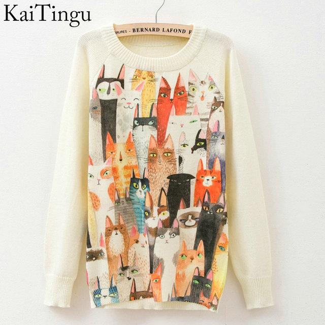 Kaitingu 2016 новинка осень и зима женщины белый свитер пуловер с длинными рукавами ...
