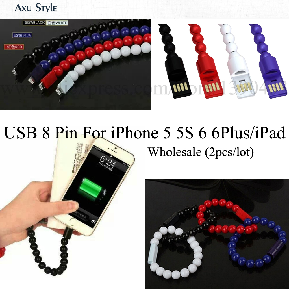2pc/lot 8 pin Data Sync Adapter Charger USB Cable for iphone 5 5S ipone 6 plus iPad5 iPad mini Bracelet Data Cable Charging Line(China (Mainland))