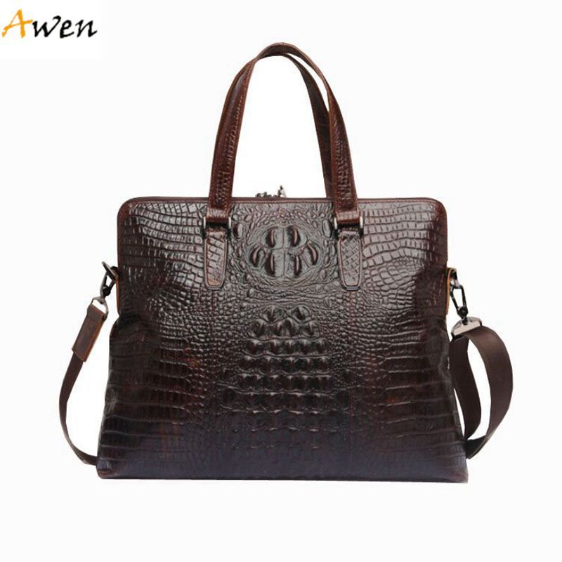 Awen - Business Crocodile Pattern Fashion Handbags For Men,Unique Alligator Men Shoulder Bag With Strap,Large Ultra-thin Men Bag<br>