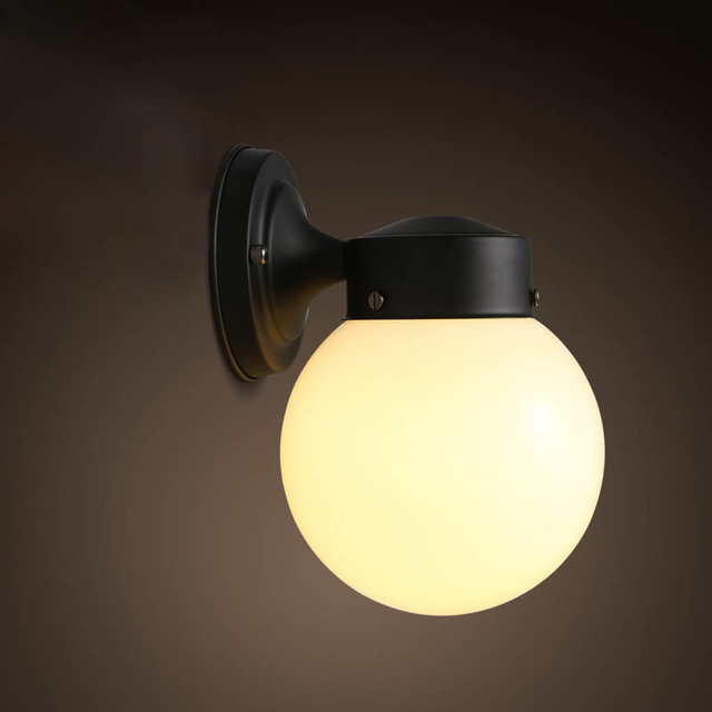 Modern Brief Personally Loft Vintage Ameican Glass Ball Iron led Wall Sconce Lamp Bathroom ...
