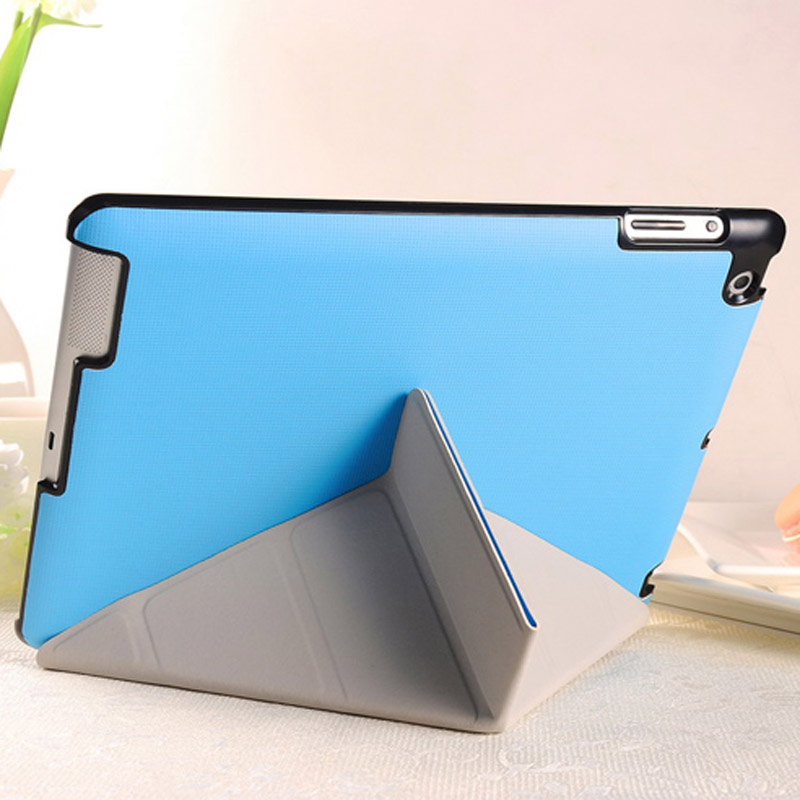 4 Shapes Stand Design Magnetic Leather Case for iPad 4 3 2 Coque Cover for iPad4 Utrathin Fashion Style Blue OYO