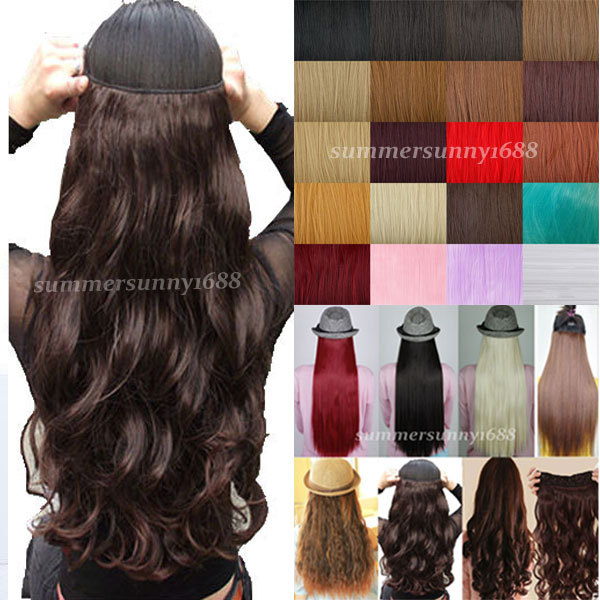 US UK LOCAL WAREHOUSE 18-28 inches Clip in ins Hair Extensions Half Full Head One Piece Curly/Wavy black brown blonde hair(China (Mainland))