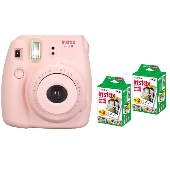 fujifilm instax mini 8 instant printing digital camera with 40 sheets twin pack fuji film photo. Black Bedroom Furniture Sets. Home Design Ideas