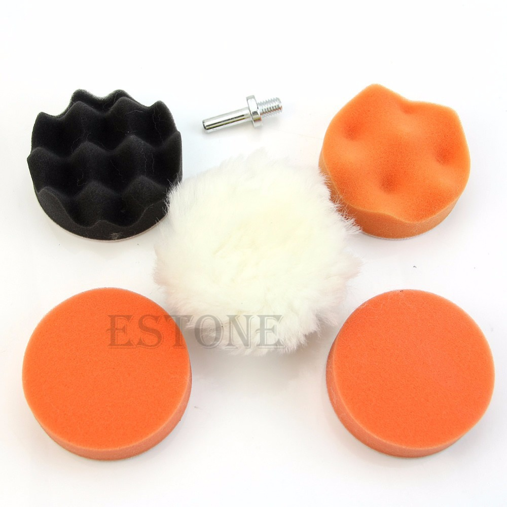free shipping 7 Pcs 3 inch Buffing Pad Auto Car Polishing Wheel Kit Buffer M14 Drill