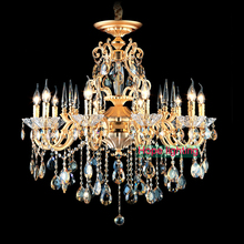 Bohemian Crystal Chandelier traditional vintage chandeliers bronze and brass chandelier Antique gold crystal lighting candle(China (Mainland))