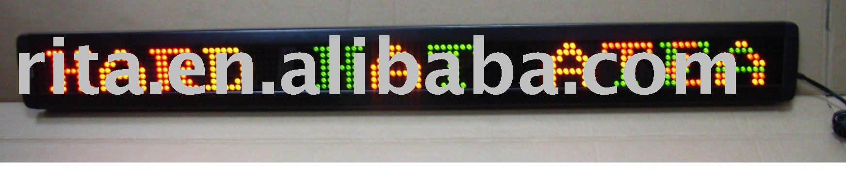 red and green one line led moving sign,8 characters with 53mm high font;P7.62mm;Pixel Resolution:7*50;100*440*34mm(HH*WW*DD)(China (Mainland))