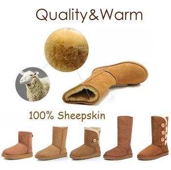 Brand Australia Snow Boot 2015 Genuine Real Leather Sheepskin Wool Warm shoes Women ladies Winter Boot Size:5-12 botas mujer(China (Mainland))