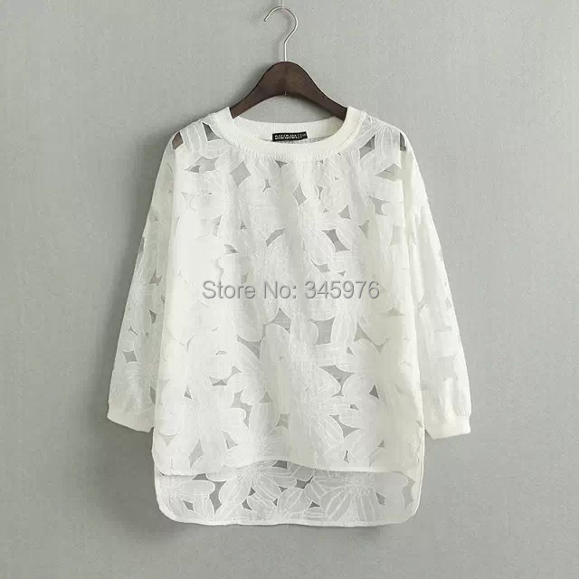 Brand Designer 2015 women fashion elegant lace crochet loose blouse shirt lady o neck brief white color casual pullover blusas(China (Mainland))