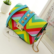 2016 women leather handbag crossbody bag over shoulder Rainbow chain ladies little bolsa Flap Panelled Cover fashion Cover print