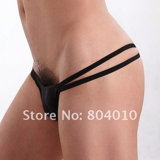 cheap Man Sexy Thong Open Crotch Low-rise underwear G-string T-back Sale #1566 Black -Wholesale