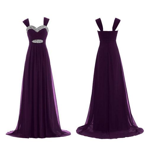 2015 long chiffon cheap purple prom dresses, discount shoulder BD15575 - okbridalshop store