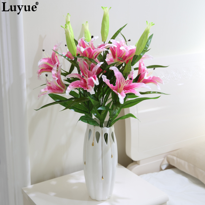 buy 4pcs 2 heads 87cm lily flowers. Black Bedroom Furniture Sets. Home Design Ideas