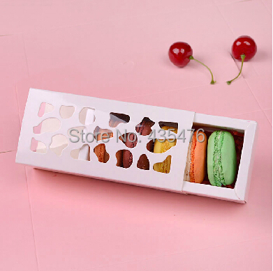 20pcs/lot Short White 13*6*4cm Hollow Macaron Box Cupcake Container Valentine Chocolate Packing Wedding Baking Package(China (Mainland))